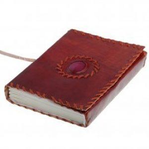 Mittelalterliches Lederbuch Notizbuch Tagebuch mit Stein