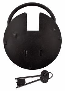 Mittelalterliches Rundes Kerkerschloss mit zwei Schlüsseln, Stahl