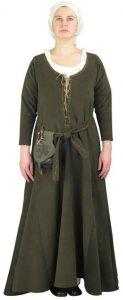 Middeleeuwse 15e eeuwse wollen dames set in Groen