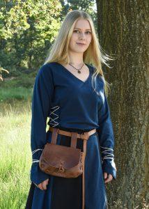 Mittelalter Bluse Aila mit Schnürung, blau