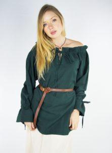 Mittelalter Damen Blouse Grun