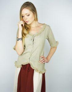 Mittelalter Damen Bluse in Natur