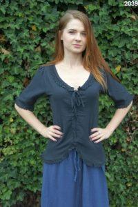 Middeleeuwse Dames Blouse in Zwart