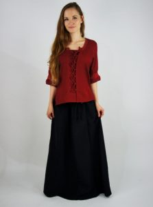 Mittelalter Damen Blouse in Rot