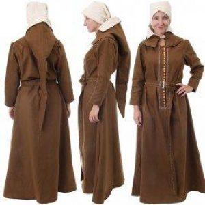 Middeleeuwse 15e eeuwse dames jurk in bruin