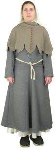 Middeleeuwse Dames Kostuum 15e eeuws in wol in bruin