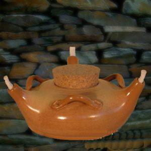 Olielamp  met ketting en drie lonmten 16 cm