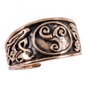 Keltischer Triskele Ring in Bronze Klein