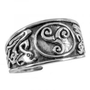 Keltischer Triskele Ring in Silber Klein