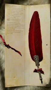 Schreibfeder mit Ritter Pen in Bord.Rot