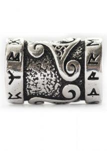 Bartperle Wikinger mit Runen und Triskele in Silber
