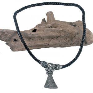 Wikinger Halsreifen mit Axt und Drachenkopfe in Zinn