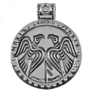 Viking Hugin en Mugin Raven Hanger in Zilver