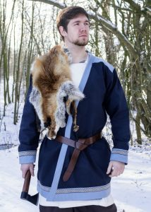 Wikinger Klappenrock, Wikinger-Mantel mit Borte, dunkelblau.