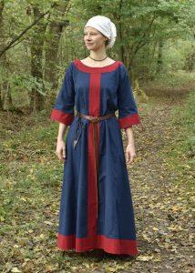 Wikinger, Frühmittelalterliches Kleid 6Jh. - 9Jh. blau/rot