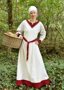 Wikinger kleid, natur/weinrot aus 9Jh. bis 10Jh.