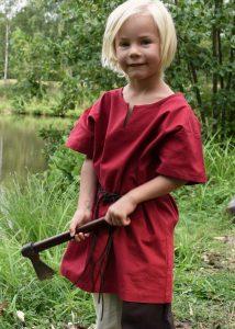 Viking-Middeleeuwen Kinder Tuniek in Rood maat 128