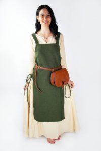 Viking Dames Overkleed in Groen in ruwe Katoen