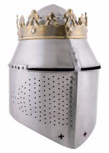Grosser Königlicher Topfhelm mit Krone, 1,6 mm Stahl