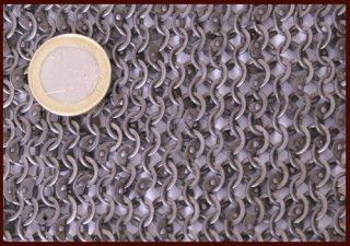 Malienkolder hemd, verniet, platte ring, 6 mm, Mass M