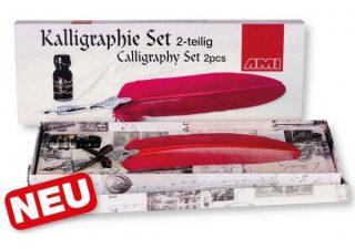 Kalligraphie-Tintenfass mit Feder