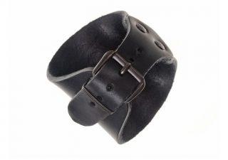 Lederen Armband met Keltische Knopen Zwart