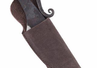 Handgeschmiedetes Frühmittelalter-Messer mit Lederscheide
