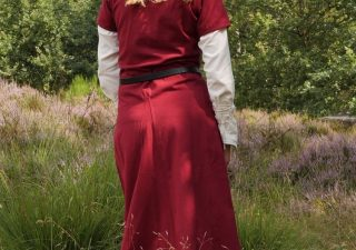 Middeleeuwse Jurk Rood Korte Mouw 13e-15e eeuws