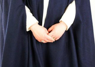 Middeleeuwse wollen cape Blauw