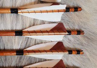 Pijlenset deluxe met 3 x witte veer, 1 x bruine insert 30 Inch