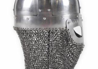 Wikinger Brillenhelm, 2 mm Stahl, mit Helmbusch und Kettenbrünne
