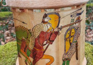 Viking Lantaarn, handgemaakt en handbeschilderd met Tapijt van Bayeux
