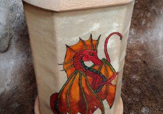 Viking Lantaarn, handbeschilderd met een Draak en met ophangkoord
