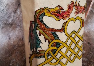 Wikinger Rohhautlaterne mit Wikinger Drachen und Keltischen Aufschrift