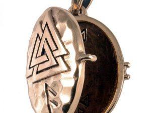 Viking Medaillon met Valknut in Brons