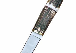 Wikinger Messer mit Hirschhorngriff und Lederscheide