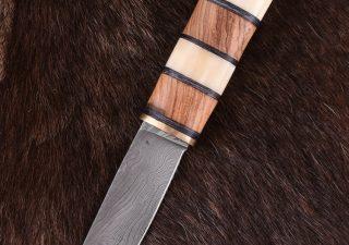 Wikingermesser mit Damastklinge und Holz-/Knochengriff