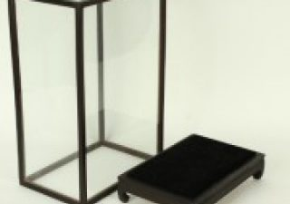 Vitrine Donkerbruin/Zwart 22 x 22 x 46 cm