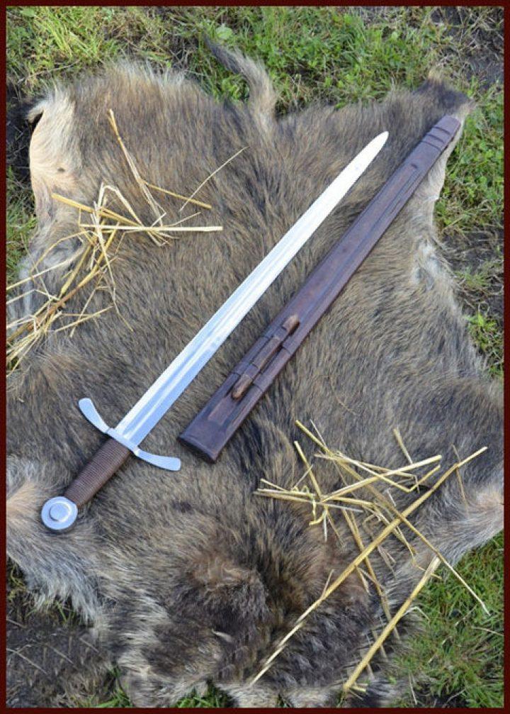 Kreuzritter Schwert mit Lederscheide