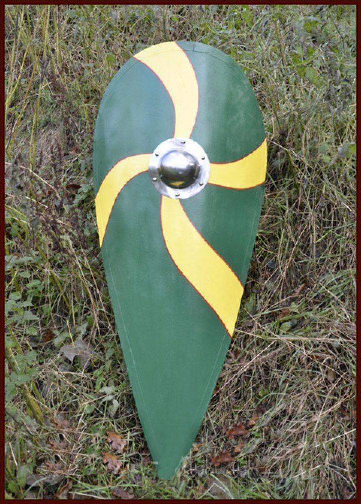 Normannenschild, Holz, grün-gelb.