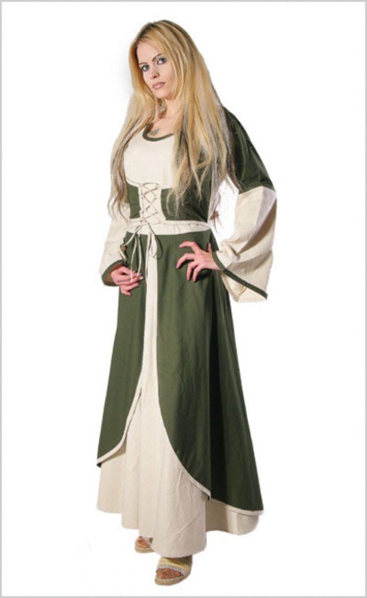 Middeleeuwse jurk in Natuur/Olijf groen
