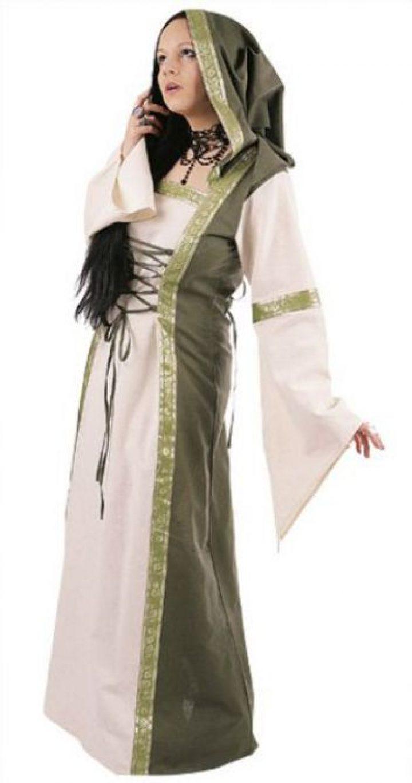 Middeleeuwse jurk groen-natuur