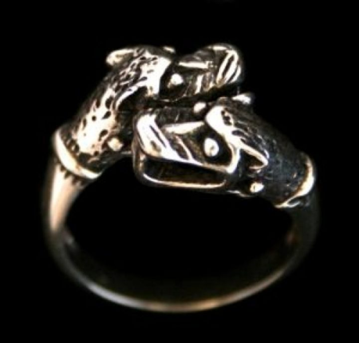 Viking Odins Wolven Ring inzilver