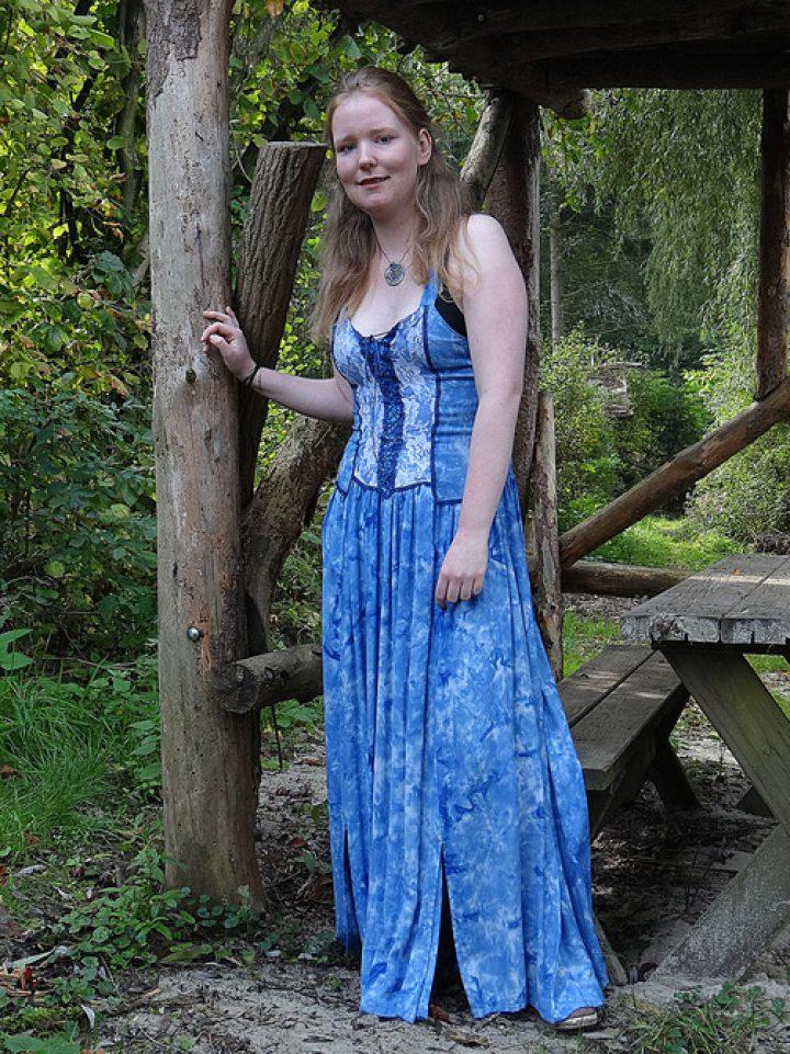 Middeleeuwse zomer jurk Blauw
