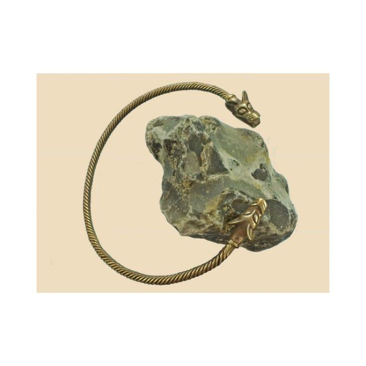 Wikinger mit Wolfsköpfen Halsreif Bronze