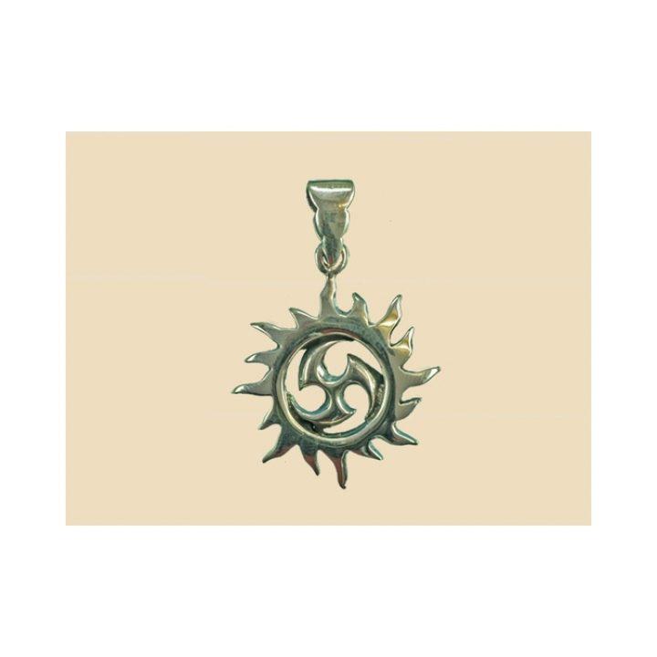 Keltische Zon met Triskel Hanger Brons