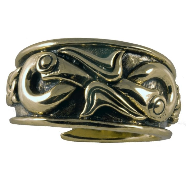 Viking Drakenkoppen Ring Brons Groot