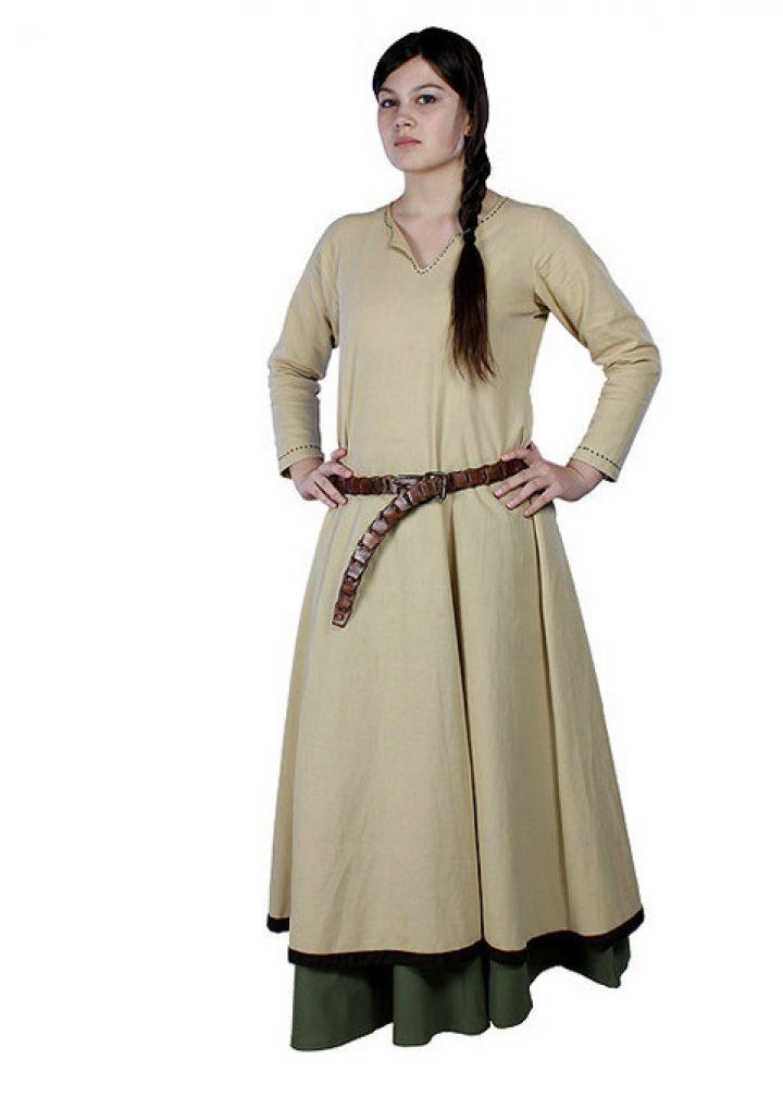 Middeleeuwse Dames Overjurk Beige/Bruin