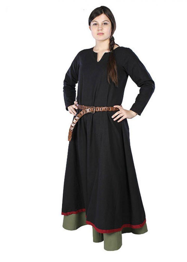 Middeleeuwse Dames Overjurk zwart/rood