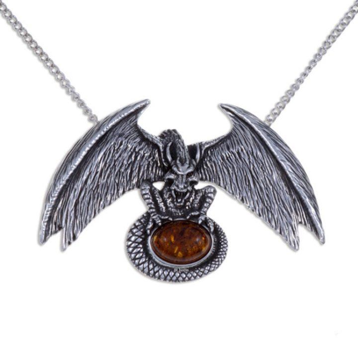 Dragon Lair hanger met amber steen SJPN-88